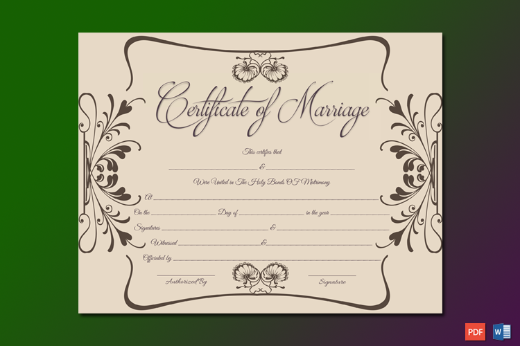 Marriage Certificate Template UK Word