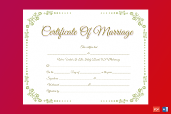 Marriage Certificate Template With Flowers Border wORD