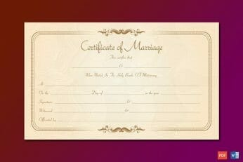 Marriage License Template Word