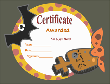 Most Frightening Halloween Award Certificate