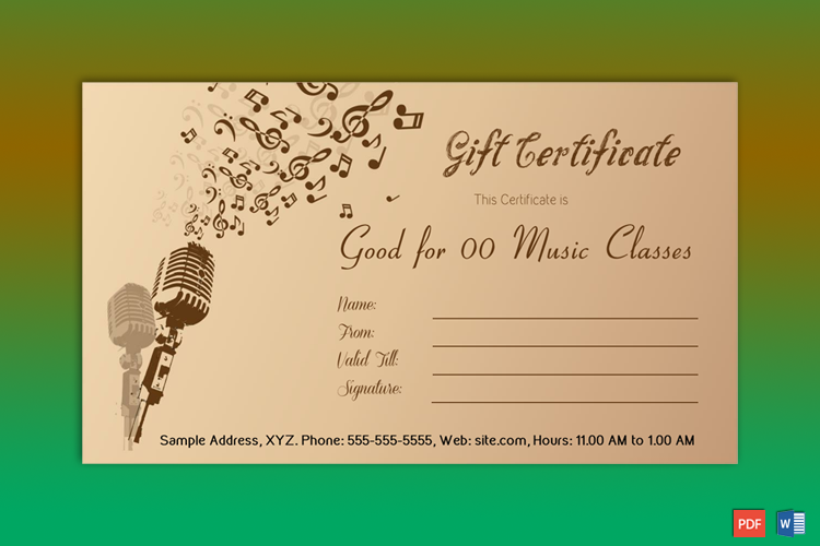 Music School Gift Certificate