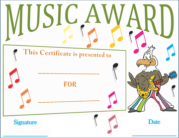 Musical Notes Award Certificate Template
