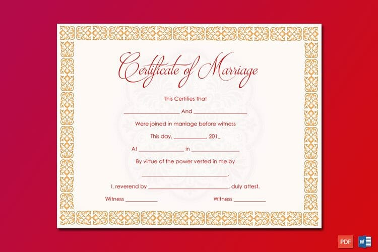 Orange Strings Marriage Certificate Template Word