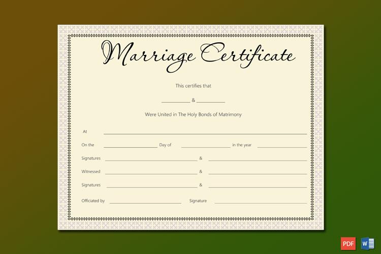 Pink Delight Marriage Certificate Design Word