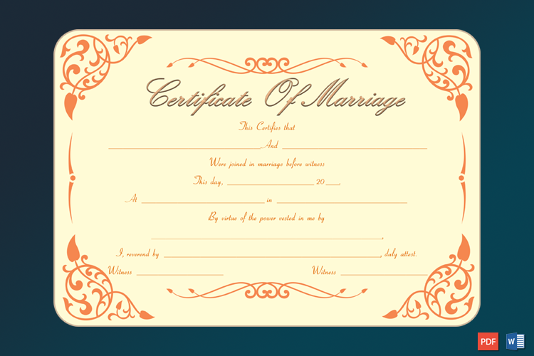 Printable Marriage Certificate Template Word Free