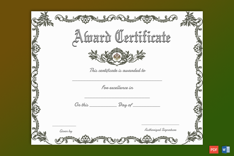 Free Printable Formal Award Certificate