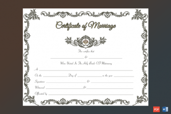 Royal Marriage Certificate Template Word