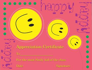 Smiley Face Certificate of Appreciation Template