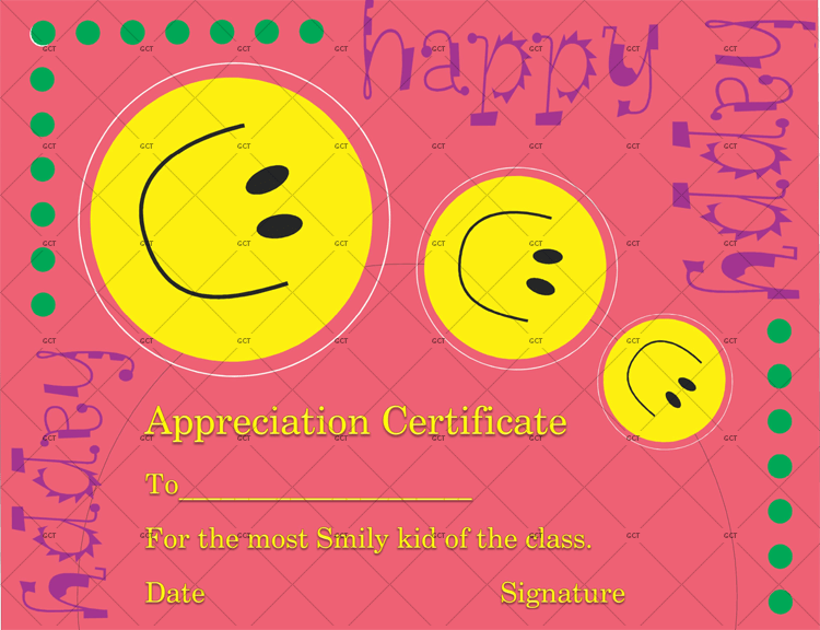 Smiley Face Certificate Of Appreciation Template Gct