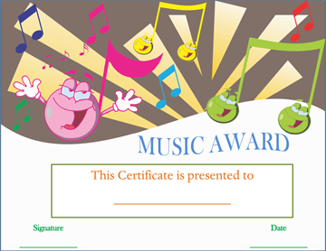 Smiley Face Music Award Certificate Word