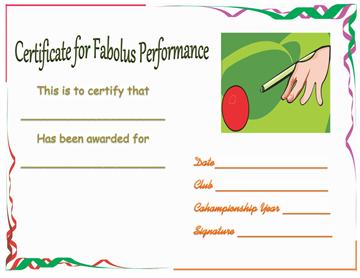 Snooker Champ Certificate of Appreciation Template