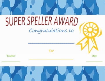 Spelling Busy-Bee Award Certificate Template Word