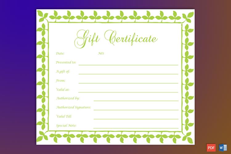 Printable Formal Gift Certificate