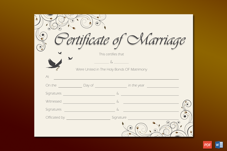 Spring blossoms Marriage Certificate Template Word