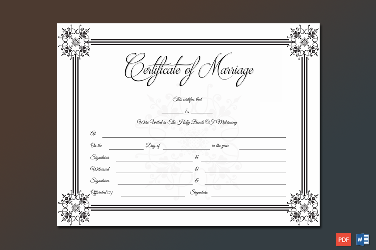 Suave Marriage Certificate Template Word