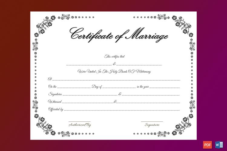 Vintage Flowers Marriage Certificate Template Word
