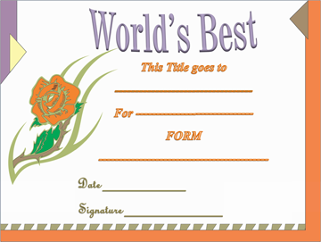 World's Best Award Certificate (for Kids)