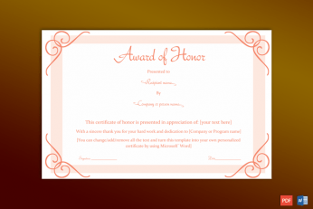 Free Editable Honor Roll Certificate Template