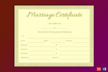 Souvenir Marriage Certificate