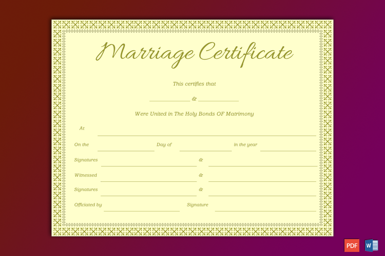 Souvenir Marriage Certificate