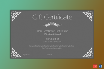 Printable Formal Gift Certificate