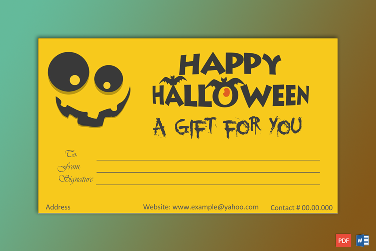 Sample of Halloween Gift Certificate