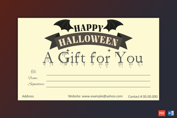 Editable Halloween Gift Template