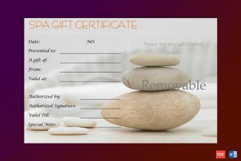 Editable Spa Gift Certificate