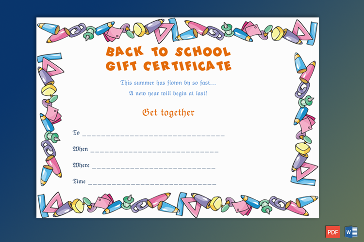School Gift Certificate Sample