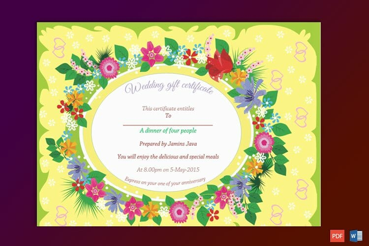 Wedding Gift Certificate Sample