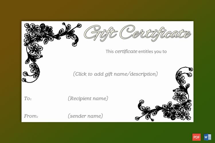 Editable Gift Certificate Sample