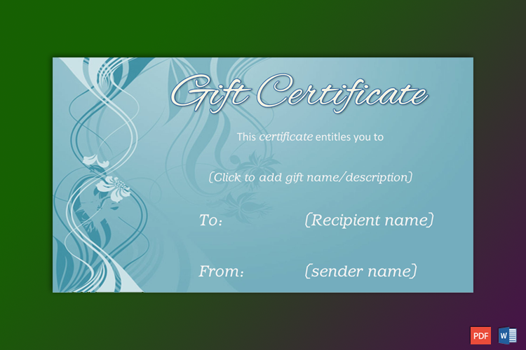 Formal Gift Certificate Sample