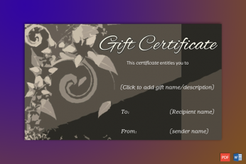 Brown Formal Gift Certificate