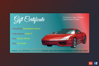 Business Gift Certificate Template Sample