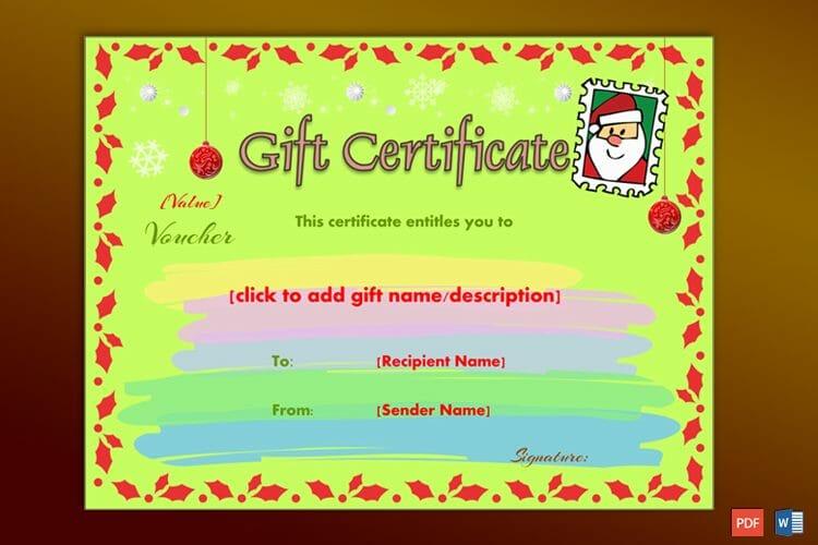 Editable Christmas gift certificate