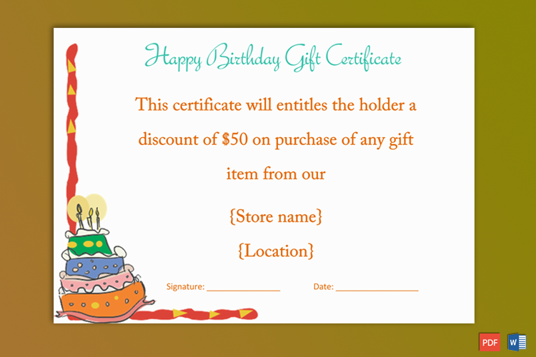 Colorful Cake Birthday Gift Certificate Template , GCT