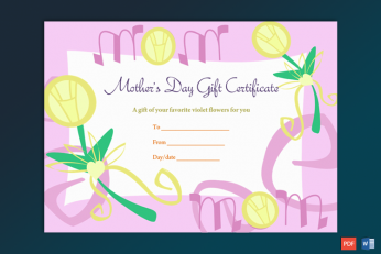 Sample of Mother's Day Gift Certificate