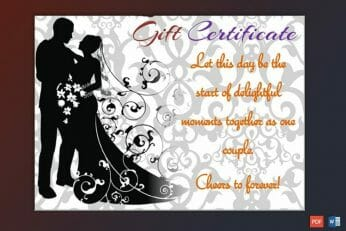 Wedding Gift Certificate Sample