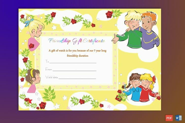 Friendship Gift Certificate Sample