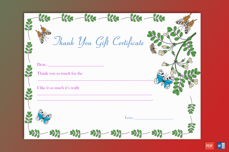 Editable Business Gift Certificate