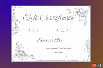 Gift Certificate Editable