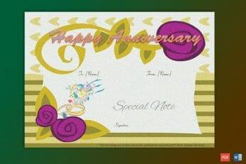 Anniversary Gift Certificate Sample