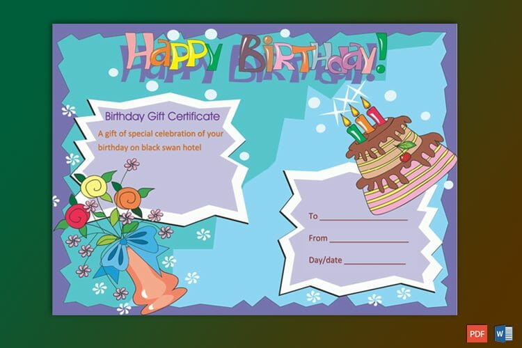 Multicolored Birthday Cake Gift Certificate Template , GCT