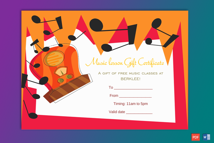 Editable Music Gift Certificate