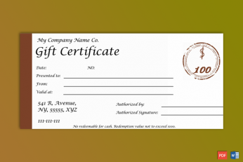 One note Gift Certificate