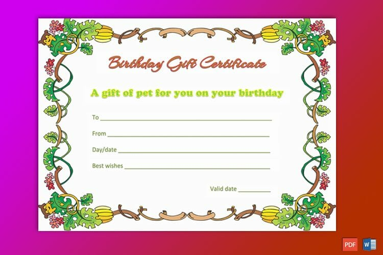 Birthday Gift Certificate Sample