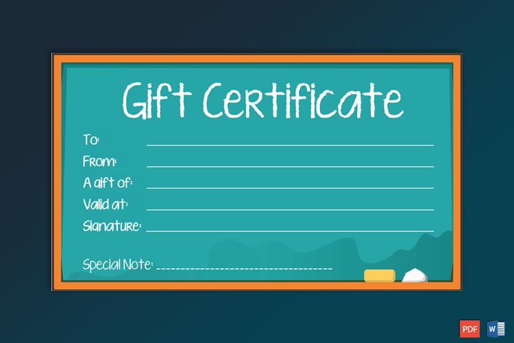 school gift certificate sample