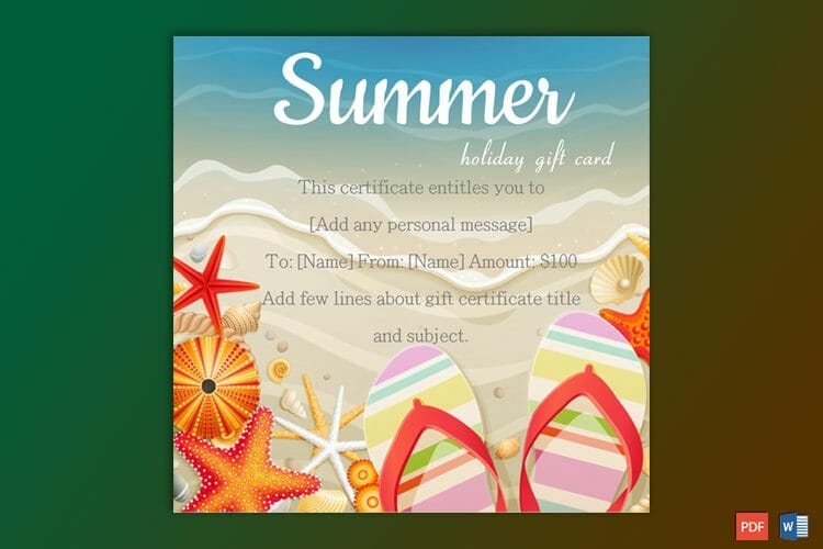 summer holidays gift certificate