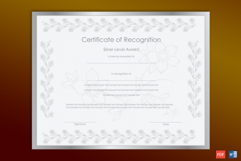 Award Certificate Sample