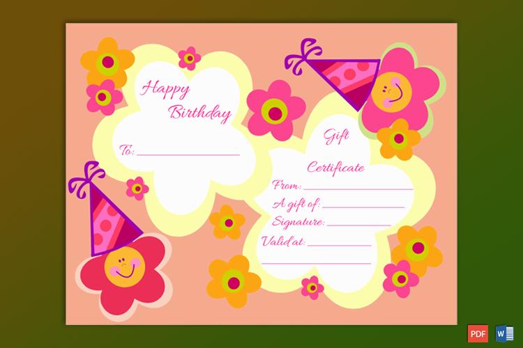 birthday gift certificate